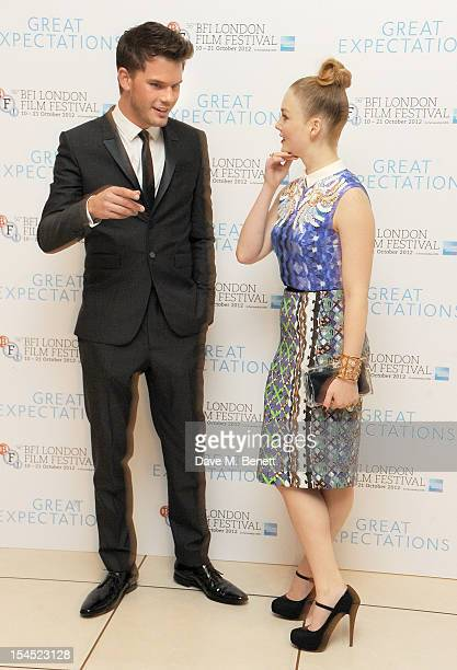 Jeremy Irvine and Holliay Grainger attend the Gala Premiere of 'Great Expectations' which closes the 56th BFI London Film Festival at Odeon Leicester...