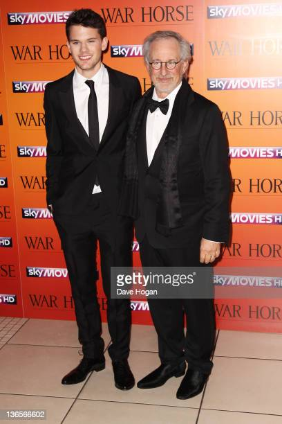Jeremy Irvine and Steven Spielberg attend the UK premiere of War Horse at Odeon Leicester Square on January 8 2012 in London United Kingdom