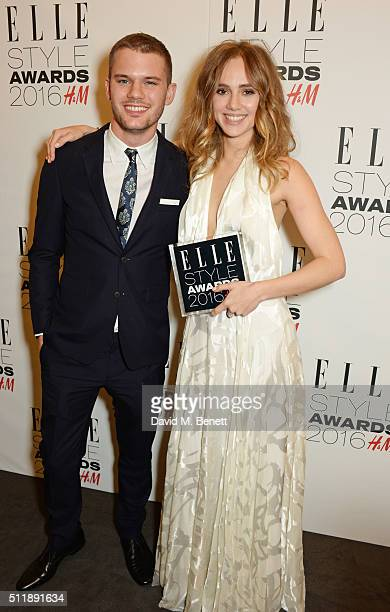 Jeremy Irvine and Suki Waterhouse winner of the Breakthrough Star of the Year award poses in the winners room at The Elle Style Awards 2016 on...