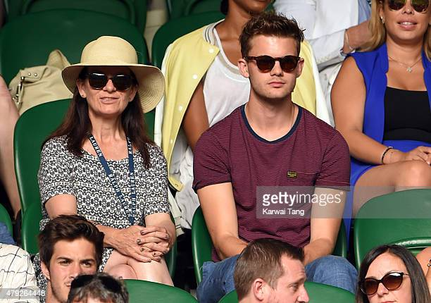 Jeremy Irvine attends the Dustin Brown v Rafael Nadal match on day four of the Wimbledon Tennis Championships at Wimbledon on July 2 2015 in London...