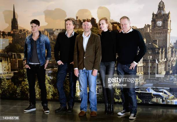Jeremy Irvine Colin Firth Jonathan Teplinsky Nicole Kidman and Stellan Skarsgard hold a photocall to announce the start of filming The Railway Man on...