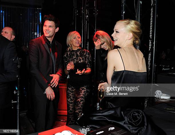 Jeremy Irvine Ellie Goulding Taylor Swift and Carey Mulligan attend the Universal Music Brits Party hosted by Bacardi at the Soho House popup on...