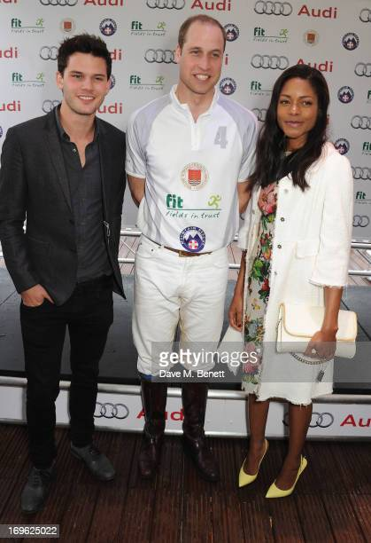 Jeremy Irvine Prince William Duke of Cambridge and Naomie Harris at the presentation ceremony at the Audi Royal Polo Challenge 2013 at Chester...