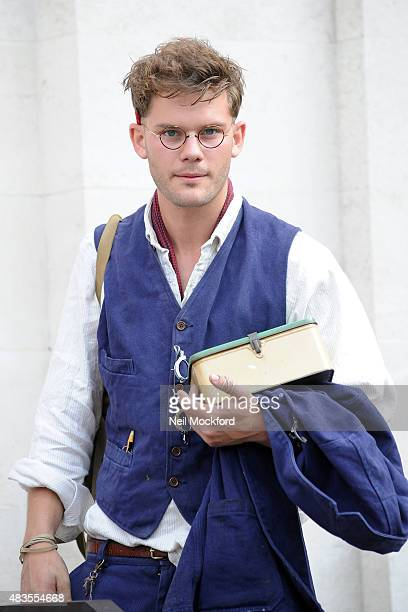 Jeremy Irvine seen filming 'This Beautiful Fantastic' at Stoke Newington Library on August 8 2015 in London England