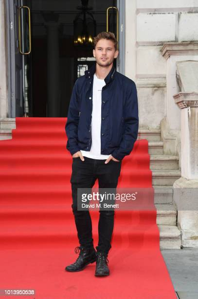 Jeremy Irvine walks the red carpet at Somerset House to celebrate the opening of Film4 Summer Screen at Somerset House on August 2018 in London...