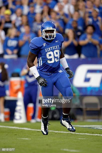 Jeremy Jarmon of the Kentucky Wildcats plays his position during the game against the Western Kentucky Hilltoppers at Commonwealth Stadium on...