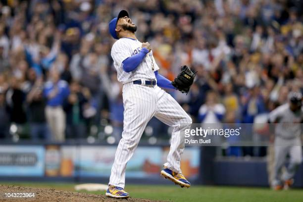 Jeremy Jeffress of the Milwaukee Brewers celebrates after beating the Detroit Tigers 65 at Miller Park on September 29 2018 in Milwaukee Wisconsin