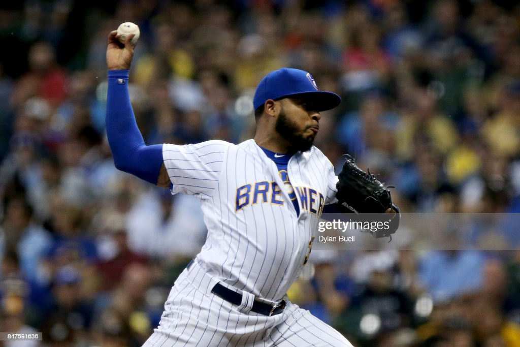 Jeremy Jeffress #32 of the Milwaukee Brewers pitches in the first inning against the Miami Marlins at Miller Park on September 15, 2017 in Milwaukee, Wisconsin.