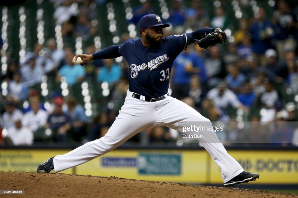 Jeremy Jeffress #32 of the Milwaukee Brewers pitches in the fourth inning against the Pittsburgh Pirates at Miller Park on September 12, 2017 in Milwaukee, Wisconsin.