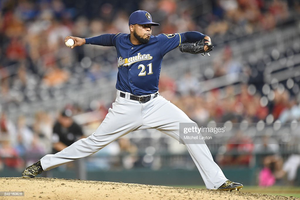 Jeremy Jeffress #21 of the Milwaukee Brewers pitches in the ninth inning during a baseball game against the Washington Nationals at Nationals Park on July 5, 2016 in Washington, DC. The Brewers won 5-2.