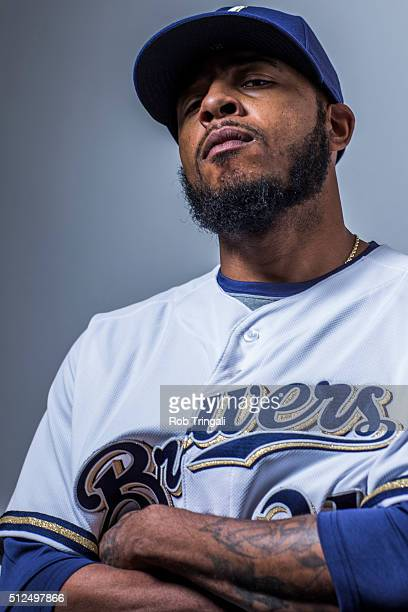 Jeremy Jeffress of the Milwaukee Brewers poses during photo day at the Maryvale sports complex on February 26 2016 in Maryvale Arizona
