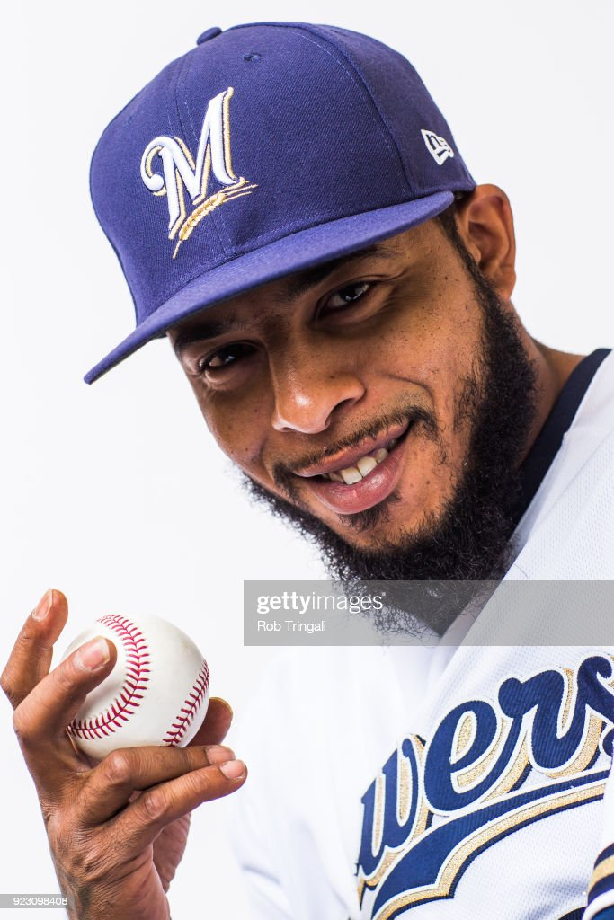 Jeremy Jeffress of the Milwaukee Brewers poses for a portrait during Photo Day at the Milwaukee Brewers Spring Training Complex on February 22, 2018 in Maryvale, Arizona.