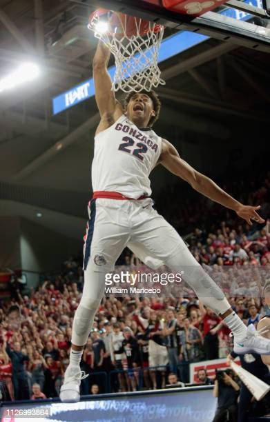 Jeremy Jones of the Gonzaga Bulldogs dunks the ball against the BYU Cougars in the second half at McCarthey Athletic Center on February 23, 2019 in...