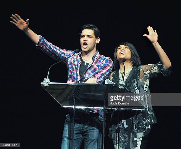 Jeremy Jordan and RavenSymone at Broadway Cares/Equity Fights AIDS 26th Annual Easter Bonnet Competition at the Minskoff Theatre on April 23 2012 in...