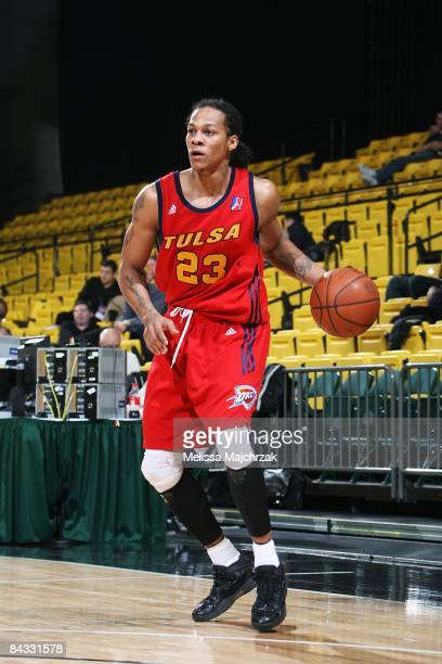 Jeremy Kelly of the Tulsa 66ers moves the ball against the Idaho Stampede at McKay Events Center during the NBA DLeague Showcase on January 08 2009...