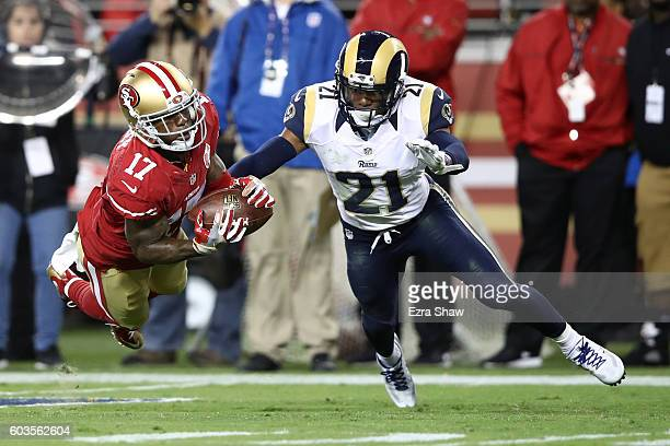 Jeremy Kerley of the San Francisco 49ers makes a catch against the Los Angeles Rams during their NFL game at Levi's Stadium on September 12 2016 in...