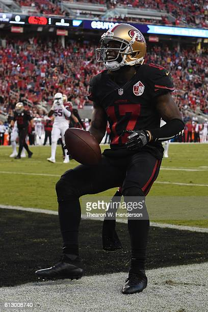 Jeremy Kerley of the San Francisco 49ers scores a touchdown in the second quarter during their NFL game against the Arizona Cardinals at Levi's...