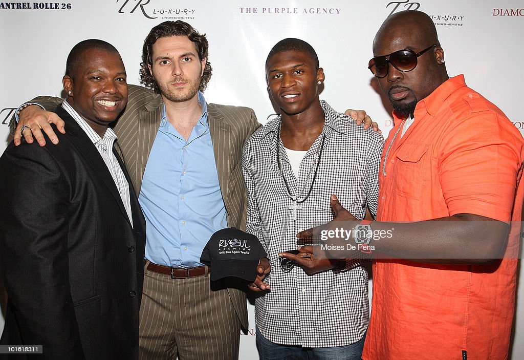 Jeremy Kersaint, John Magzalcioglu, Bruce Johnson, and Christopher Quincy attend Antrel Rolle's welcoming celebration on June 3, 2010 in New York, New York.
