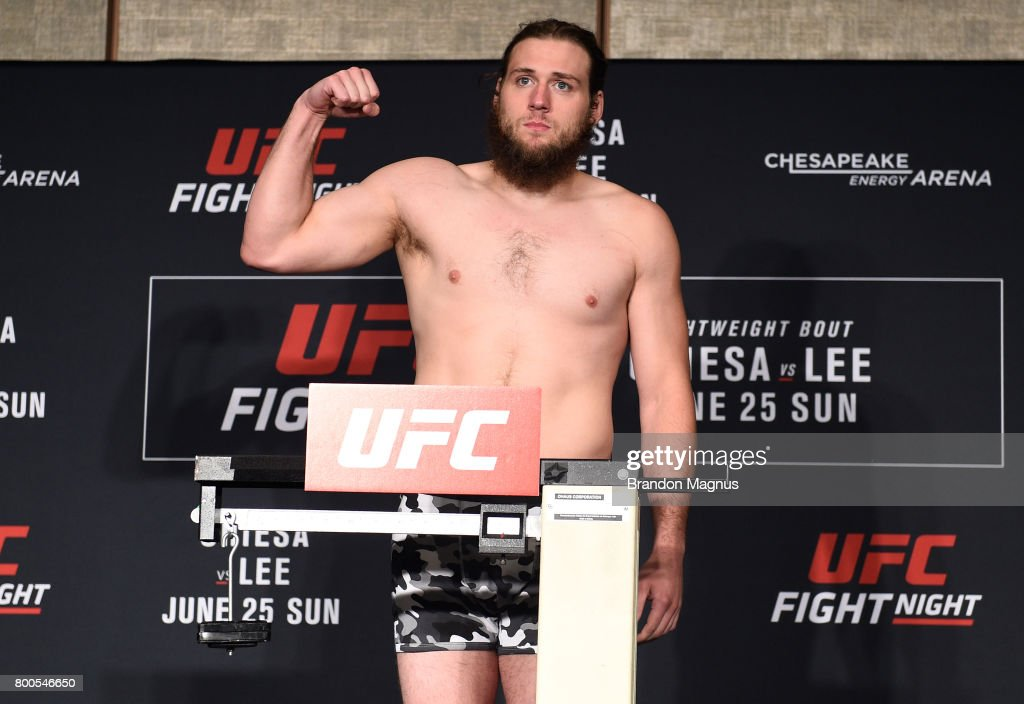 Jeremy Kimball poses on the scale during the UFC Fight Night weigh-in on June 24, 2017 in Oklahoma City, Oklahoma.