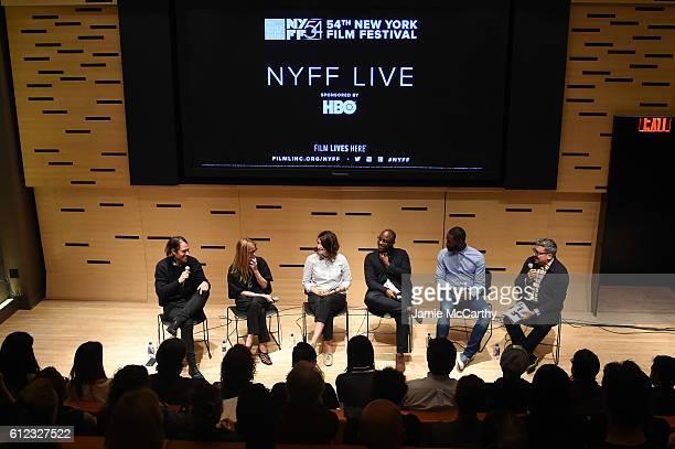 Jeremy Kleiner Dede Gardner Adele Romanski Director Barry Jenkins and writer Tarell McCraney speak onstage with Eugene Hernandez at the NYFF Live...