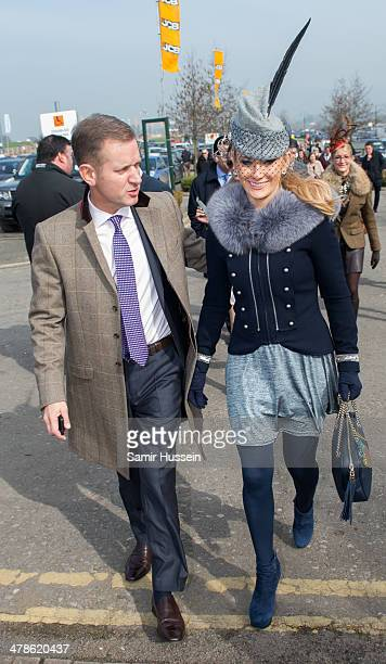 Jeremy Kyle and Carla Germaine attend Gold Cup day of The Cheltenham Festival at Cheltenham Racecourse on March 14 2014 in Cheltenham England