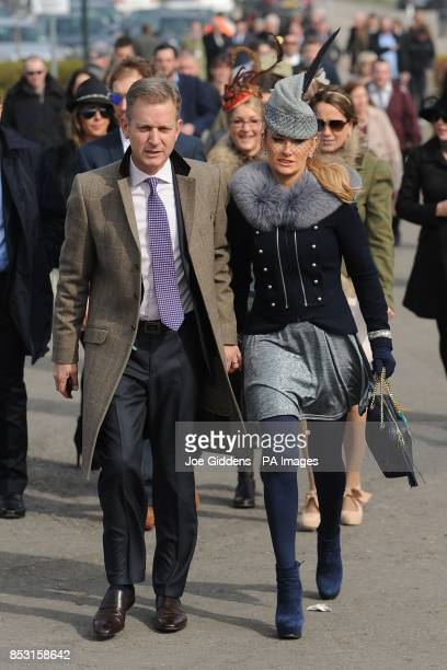Jeremy Kyle and his wife Carla Germaine arrive for Cheltenham Gold Cup Day at Cheltenham Racecourse Cheltenham