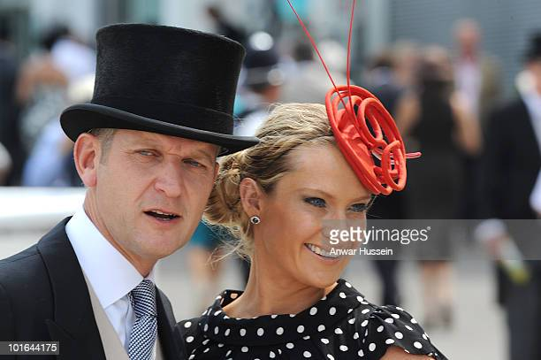Jeremy Kyle and wife Carla attend the Investec Derby at Epsom Downs Racecourse on June 5 2010 in Epsom England