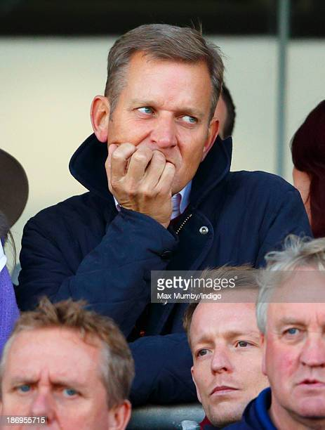 Jeremy Kyle watches the United House Gold Cup Handicap Steeple Chase as he attends the United House Group Day at Ascot Racecourse on November 2 2013...