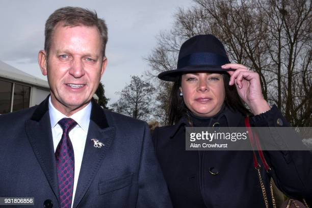 Jeremy Kyle with his girlfriend and former nanny Vicky Burton attend Cheltenham racecourse on Ladies Day on March 14 2018 in Cheltenham England