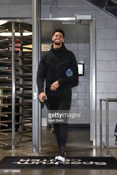 Jeremy Lamb of the Charlotte Hornets arrives at the arena before the game against the New Orleans Pelicanson December 2 2018 at Spectrum Center in...