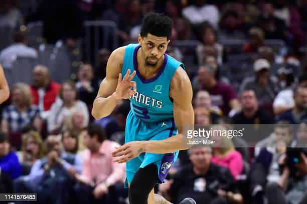 Jeremy Lamb of the Charlotte Hornets celebrates after scoring against the Cleveland Cavaliers during the second half at Rocket Mortgage FieldHouse on...