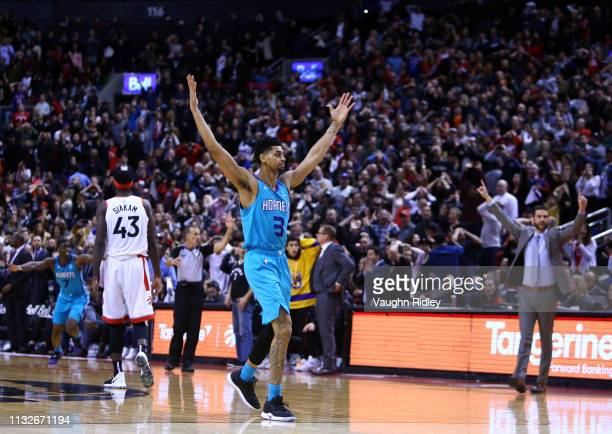Jeremy Lamb of the Charlotte Hornets celebrates after sinking a buzzer beater to win an NBA game against the Toronto Raptors at Scotiabank Arena on...