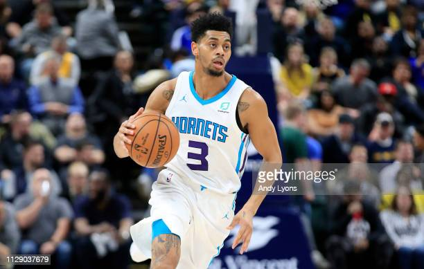 Jeremy Lamb of the Charlotte Hornets dribbles the ball against the Indiana Pacers at Bankers Life Fieldhouse on February 11 2019 in Indianapolis...