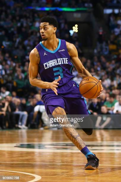 Jeremy Lamb of the Charlotte Hornets dribbles the ball during a game against the Boston Celtics at TD Garden on February 28 2018 in Boston...