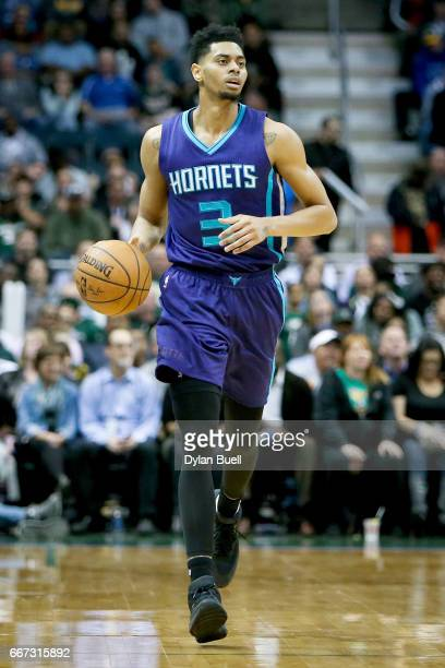 Jeremy Lamb of the Charlotte Hornets dribbles the ball in the fourth quarter against the Milwaukee Bucks at BMO Harris Bradley Center on April 10...