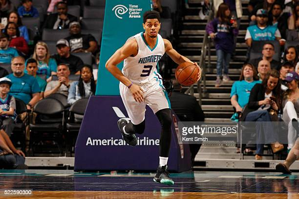 Jeremy Lamb of the Charlotte Hornets dribbles the ball up court against the Orlando Magic at the Time Warner Cable Arena on April 13 2016 in...