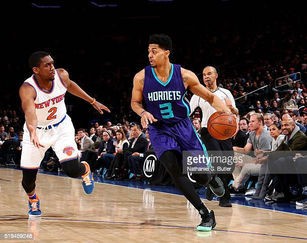 Jeremy Lamb of the Charlotte Hornets drives to the basket against Langston Galloway of the New York Knicks on April 6 2016 at Madison Square Garden...