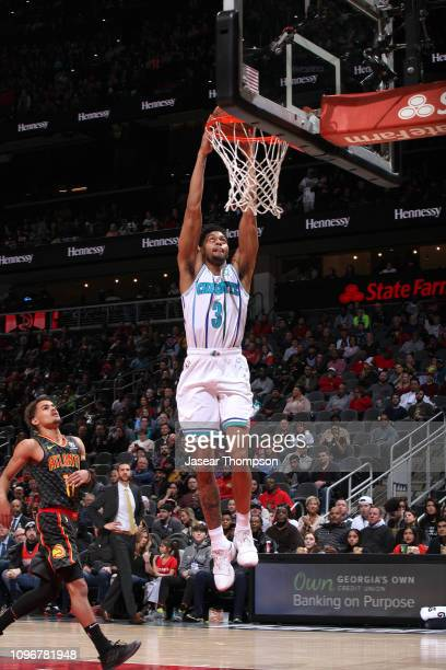 Jeremy Lamb of the Charlotte Hornets dunks the ball against the Atlanta Hawks on February 9 2019 at State Farm Arena in Atlanta Georgia NOTE TO USER...