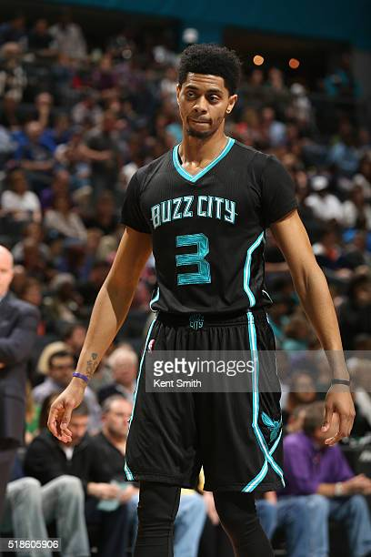 Jeremy Lamb of the Charlotte Hornets during the game against the Philadelphia 76ers on April 1 2016 at Time Warner Cable Arena in Charlotte North...