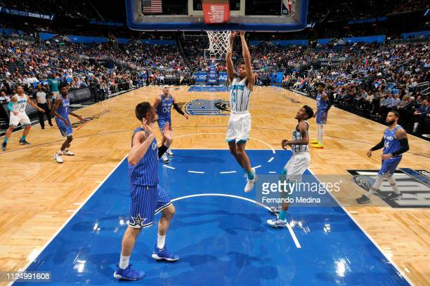 Jeremy Lamb of the Charlotte Hornets goes to the basket against the Orlando Magic on February 14 2019 at Amway Center in Orlando Florida NOTE TO USER...