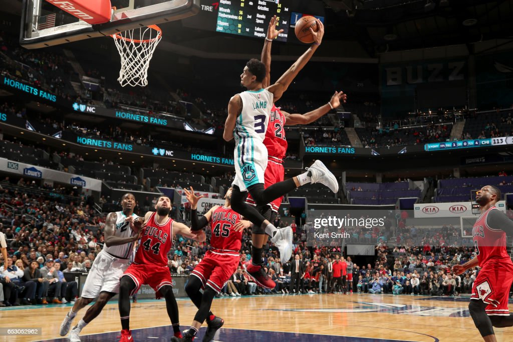 Jeremy Lamb #3 of the Charlotte Hornets goes to the basket against the Chicago Bulls on March 13, 2017 at Spectrum Center in Charlotte, North Carolina.