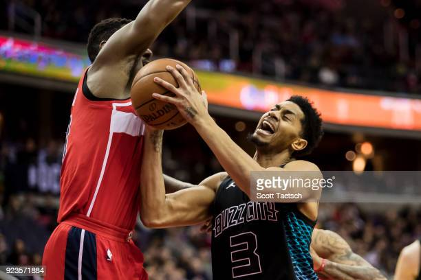 Jeremy Lamb of the Charlotte Hornets goes to the basket against the Washington Wizards during the first half at Capital One Arena on February 23 2018...