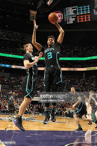 Jeremy Lamb of the Charlotte Hornets grabs the rebound against the New York Knicks during the game at the Spectrum Center on November 26 2016 in...