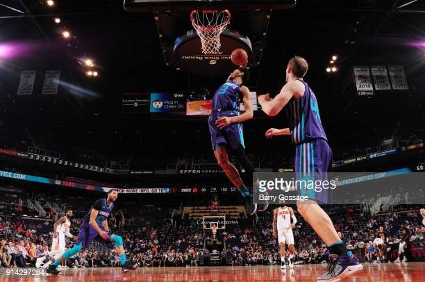 Jeremy Lamb of the Charlotte Hornets grabs the rebound against the Phoenix Suns on February 4 2018 at Talking Stick Resort Arena in Phoenix Arizona...