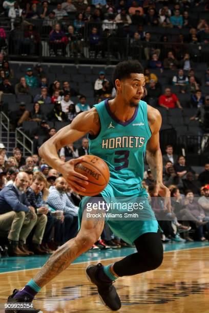 Jeremy Lamb of the Charlotte Hornets handles the ball against the New Orleans Pelicans on January 24 2018 at Spectrum Center in Charlotte North...