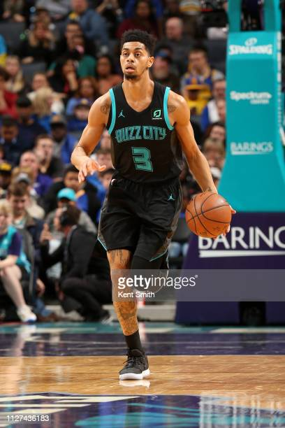 Jeremy Lamb of the Charlotte Hornets handles the ball against the Golden State Warriors on February 25 2019 at Spectrum Center in Charlotte North...