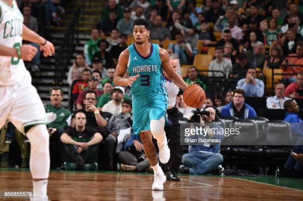 Jeremy Lamb of the Charlotte Hornets handles the ball against the Boston Celtics during a preseason game on October 2 2017 at the TD Garden in Boston...
