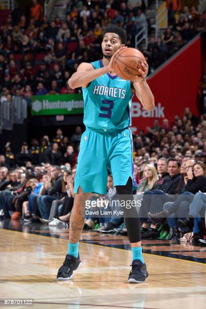 Jeremy Lamb of the Charlotte Hornets handles the ball against the Cleveland Cavaliers on Novmber 24 2017 at Quicken Loans Arena in Cleveland Ohio...