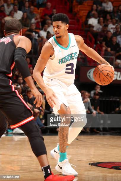 Jeremy Lamb of the Charlotte Hornets handles the ball against the Miami Heat on December 1 2017 at American Airlines Arena in Miami Florida NOTE TO...