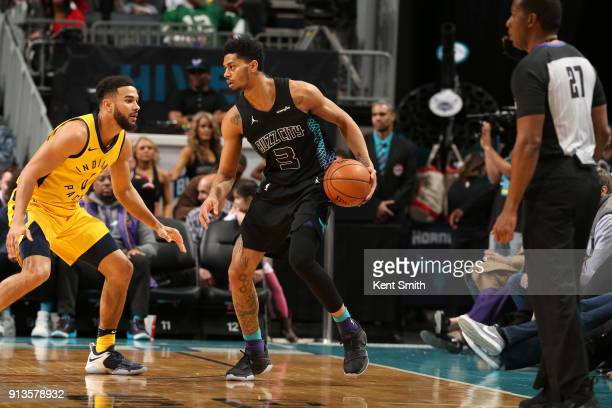 Jeremy Lamb of the Charlotte Hornets handles the ball against the Indiana Pacers on February 2 2018 at Spectrum Center in Charlotte North Carolina...